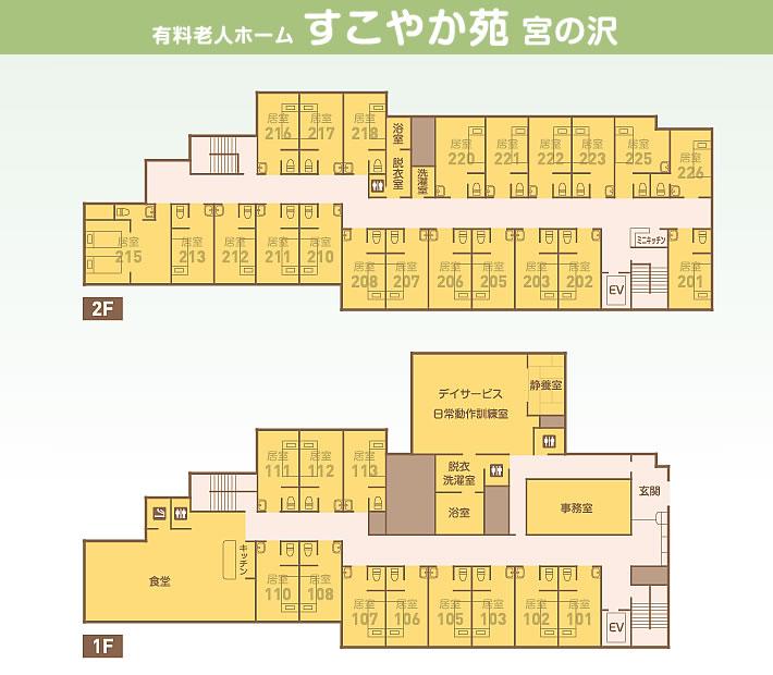 住宅型有料老人ホームすこやか苑宮の沢見取図